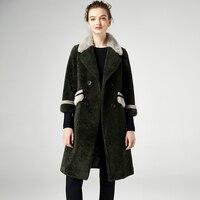 Yolanfey/Женская куртка из натурального меха Coata на осень и зиму; теплая Толстая куртка наивысшего качества с овечьей шерстью; воротник из норки;