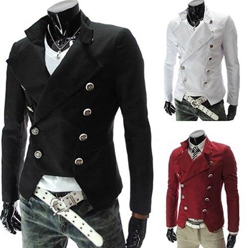 31a595d98 الرجال الأزياء النمط الأوروبي مزدوجة الصدر عارضة التلبيب سليم البدلة السترة  معطف