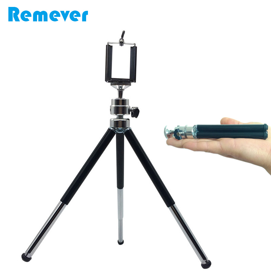 Protable 2 Sections Extendable Metal Mini Tripod with Phone Holder Bracket For Gopro Cameras IPhone Samsung Xiaomi Huawei Phones