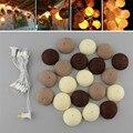 3 M de Café Branco de Fadas String Luzes de Largura 20 PCS BOLA de ALGODÃO Luz LED String para Festa de Casamento Em Casa De Mesa De Natal Decoração Da Árvore