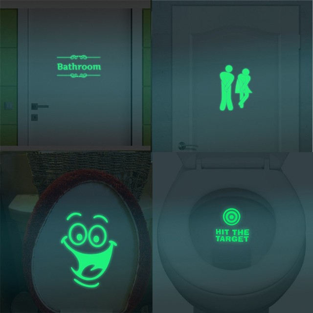 Bathroom Luminous Sticker Toilet Fluorescent Wall Sticker PVC Removable Sticker PVC Wallpaper for Toilet Home Decorations