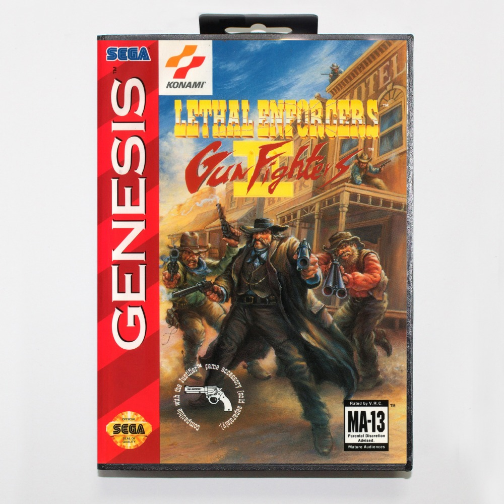 New 16 bit MD game card - lethal enforcers II with Retail box For Sega genesis system