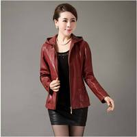 High Quality New 2015 Spring Autumn Short Leather Coat Middle Aged Women Hooded Zipper Slim Plus
