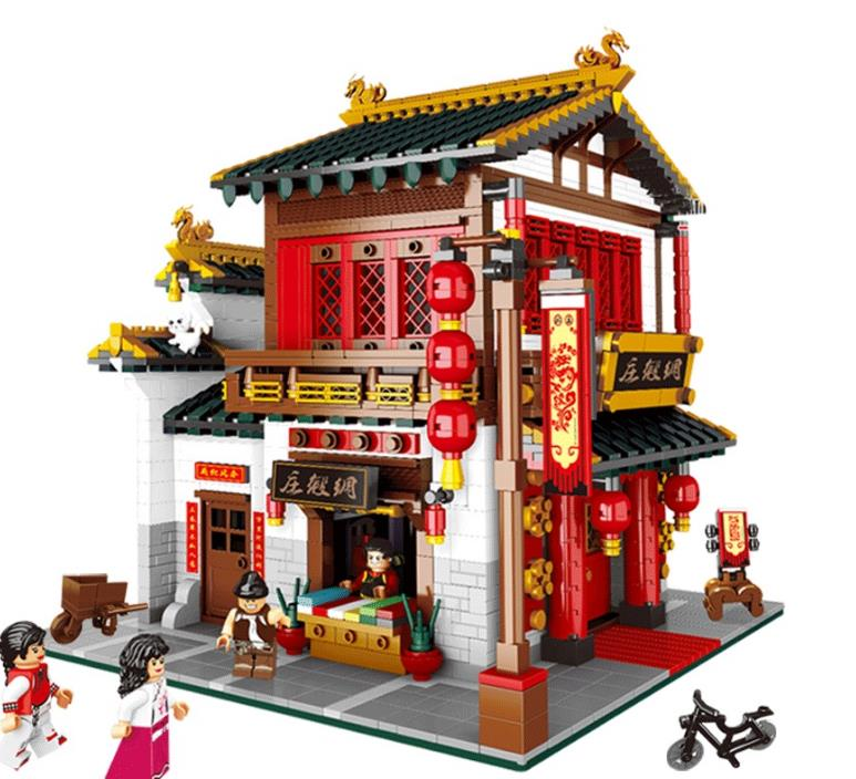 New Dream The Chinese Silk and Satin Store Creative Model Building Blocks Bricks Toys girt for childrenNew Dream The Chinese Silk and Satin Store Creative Model Building Blocks Bricks Toys girt for children