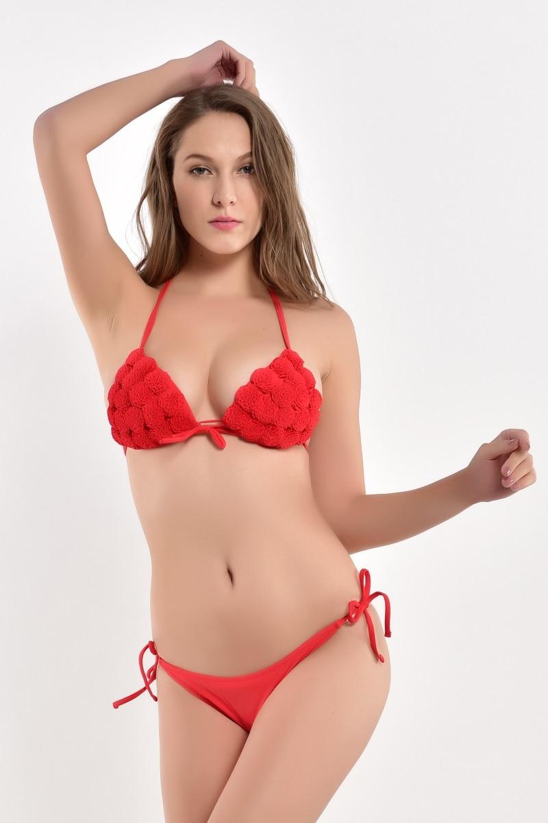 2018 playa Biquini Sexy traje de baño de la vendimia Push Up Bikinis Set traje de baño Bikini brasileño Rosa rojo azul amarillo Mujer