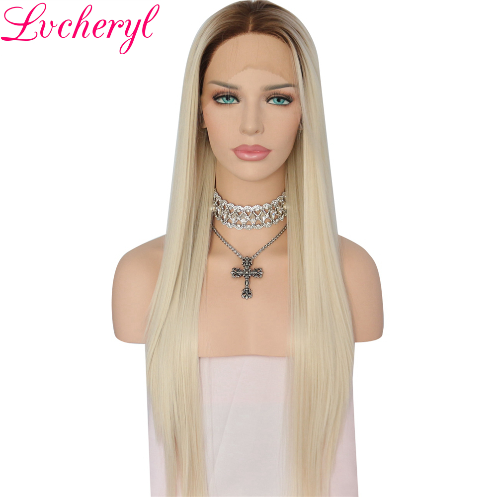 Lvcheryl High Temperature Fiber Ombre Brown Roots To Light Blond Long Straight Heat Resistant Synthetic Front