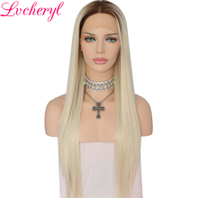 Lvcheryl High Temperature Fiber Ombre Brown Roots To Light Blond Long Straight Heat Resistant Synthetic Front Lace Wigs