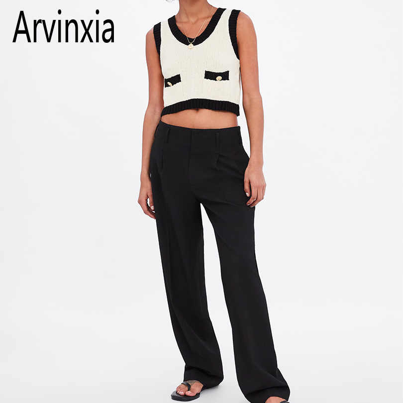 Arvinxia ZA Sexy Knitted Solid Women Tanks Fashion Big O-Neck Ladies Vest Camis Comfortable Sleeveless Intimates Slim Woman Tops