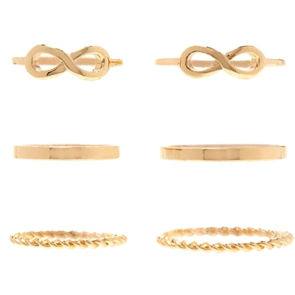 6pcs Simple Style 8 Infinite Screw Shape Gold Color Knuckle Midi Stacking Rings Set Jewerly Travel Gift