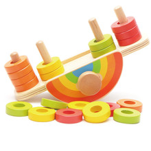 New Wooden Baby Toys Rainbow Balance Game Baby Educational Toys Baby Gifts rainbow puzzle wooden toys bag hemisphere balance game baby balance training toys rainbow toy children s educational toy wooden