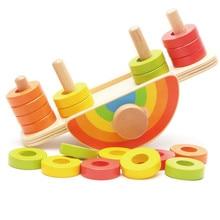 Купить с кэшбэком New Wooden Baby Toys Rainbow Balance Game Baby Educational Toys Baby Gifts