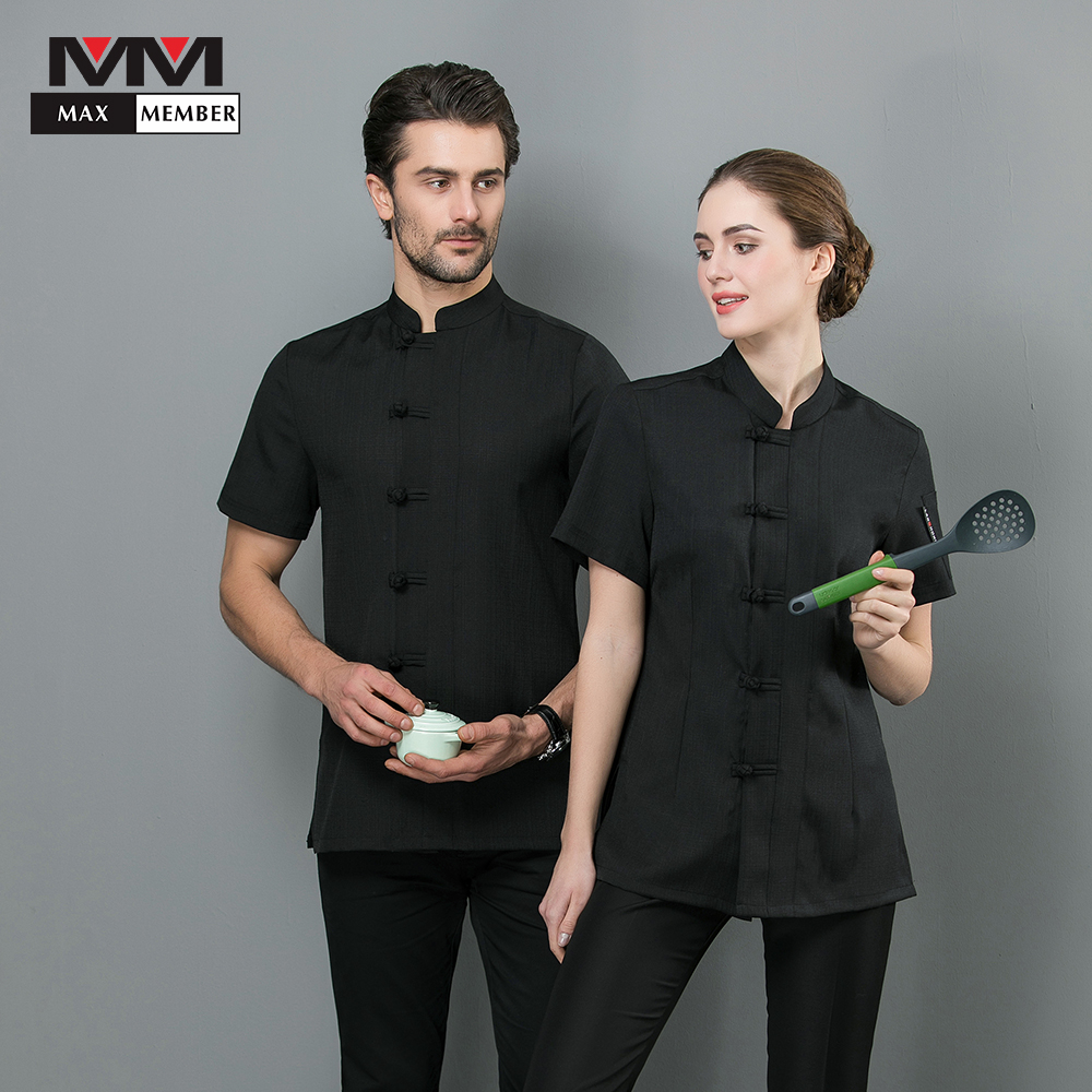 Chef Jacket Chinese Traditional Style Linen Cloth Barbr Unisex Restaurant Summer Kitchen Ropa De Cocina Pure Color Work Uniform