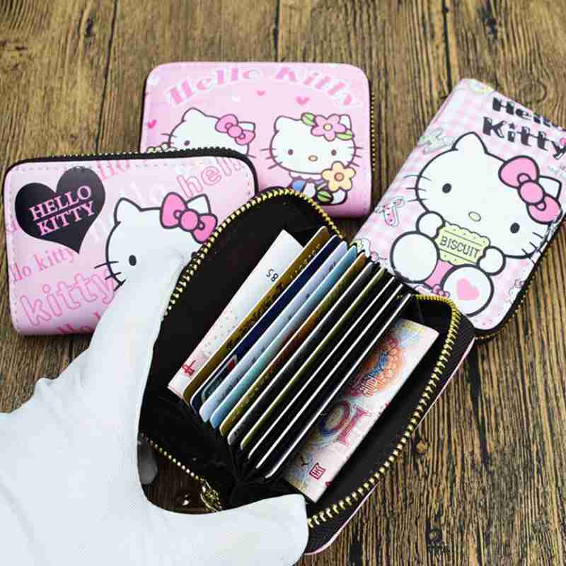 Cute Cartoon Hello Kitty Function Rfid Card Case Business Card Holder Men Women Credit Passport Card Bag ID Card Purse Wallet cartoon sofia travel passport cover bag cute hello kitty credit card id holders men women card holder high quality