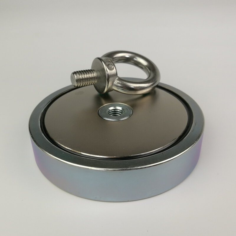 1pcs 500KG magnetic attracting force strong holding neodymium recovery fishing and Retrieving magnet pot with a eyebolt