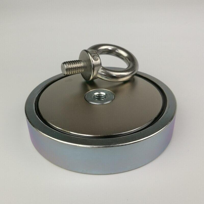 1 stücke 500 kg magnetische zieht kraft stark halten neodym recovery angeln und Abrufen magnet topf mit einer ringschraube