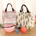 YILE Cotton Linen Waterproof Thermal Handbag Lunch Bag Portable Picnic Bag for Food Drinks Ice Cooler Bag 807