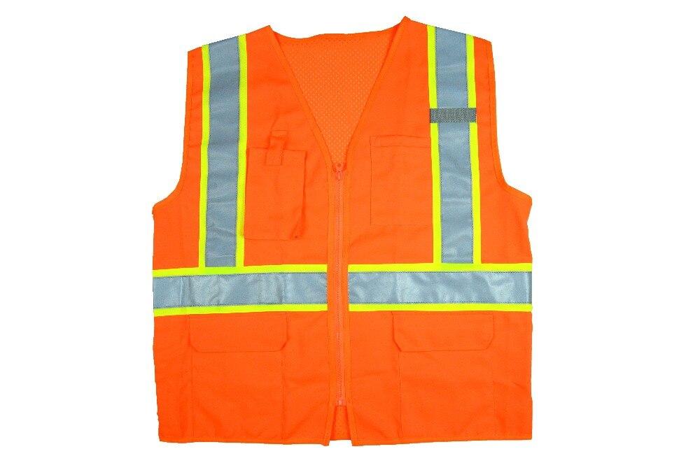 High visibility Safety Reflective vest Print Logo Traffic Vest With multi Pockets