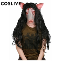Coslive Jigsaw Horrible Cosplay Killer Pig Head Shaped Helmet with Wig Halloween Mask for Party Cos Prop