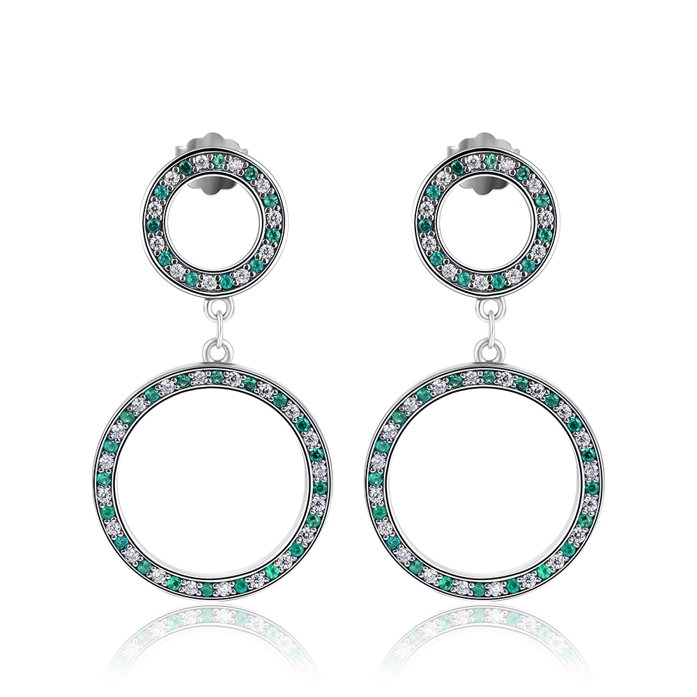 Versatility Earrings With Green CZ 100% 925 Sterling-Silver-Jewelry Free Shipping