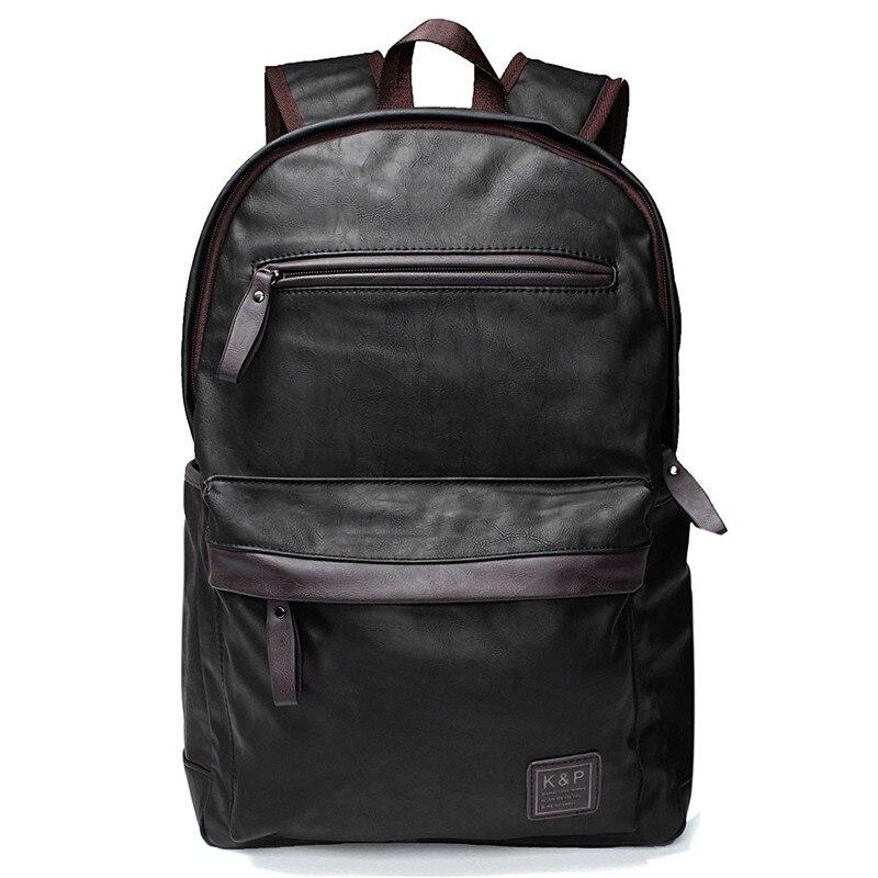 YUNAI New Fashion Vintage Hiking Backpack PU Leather Men Business Travel Laptop Rucksack Bag School Shoulder Bag for Teenager