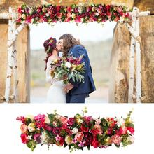 FENGRISE 1M Silk Rose Peony Hydrangea Cited Artificial Flowers For Wedding Home Decoration Row Arch Door Fake Flowers Garland
