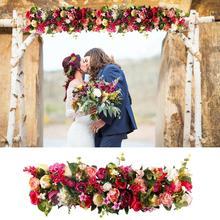 Fenghike 1 متر الحرير ارتفع الفاوانيا الكوبية استشهد الزهور الاصطناعية لوازم ديكورات زفاف للمنزل صف باب على شكل قوس الزهور وهمية إكليل