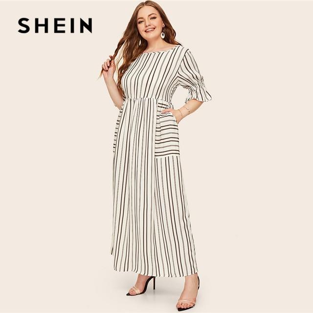 SHEIN Plus Size Flounce Sleeve Patch Pocket Striped Dress 2019 Women Spring Summer Casual Half Sleeve High Waist Maxi Dresses