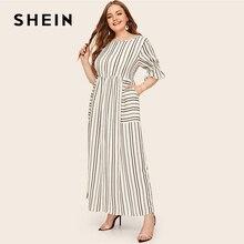 Shein 플러스 사이즈 플레어 슬리브 패치 포켓 스트라이프 드레스 2019 여성 봄 여름 캐주얼 반소매 하이 웨이스트 맥시 드레스