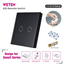 433Mhz Remote Control Wall Touch Switch for Sonoff T1 EU UK Sonoff 4CH Pro R2 Slampher 433.92MHz RF Remote Control Light Switch
