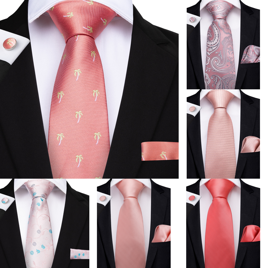 DiBanGu Fashion Peach Pink Men Gifts Tie Clip Hanky Cufflinks Coral Tie 100% Silk Necktie Gravat Business Wedding Party Tie Set