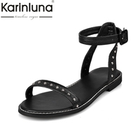 KARINLUNA Punk Rivet Genuine Leather Sandals 2017 Ankle Strap Flat Heel Summer Shoes Woman Black White