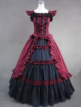 Classic Red and Black Vintage Gothic Victorian Dress