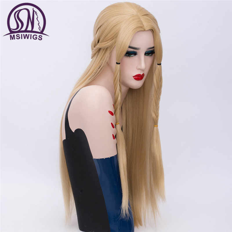 Perruques Cosplay synthétiques longues msiwig   Perruque à raie lisse Blonde, Rose Net argent blanc Game of Thrones, perruque tressée pour femmes