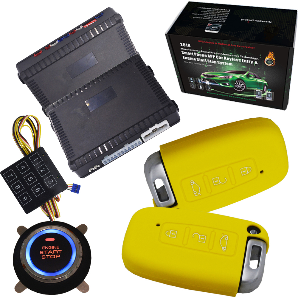 economical car auto alarm security system Push Button Start Stop ignition system passive Keyless Entry with shock alarm output rolling code rfid pke car alarm system push button start stop remote engine start passive keyless entry smart password keypad