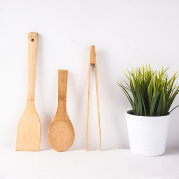 Non Stick Bamboo Cooking Tool Eco Friendly Natural Wood Long Handle Turner No Paint Rice Spoon