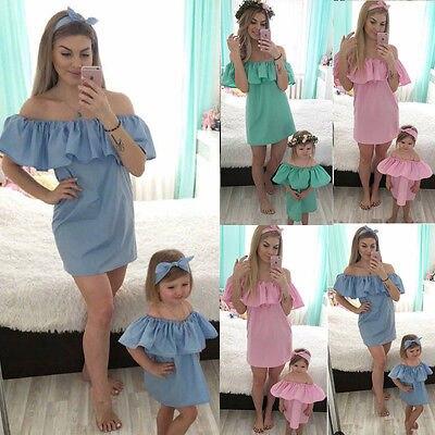 2017 Neue Familie Mutter Tochter Passenden Mädchen Rüschen Schulterfrei Kleid Kleidung Set