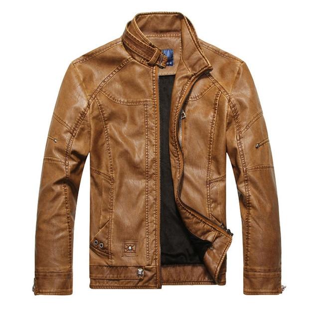 Men Motorcycle Biker leather jacket mens jaqueta de couro masculina leather jacket Windbreak coats Plus Size 3XL