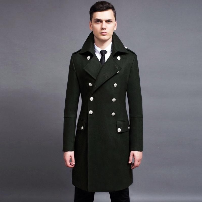 2018 Frühling Neue Ankunft Mode Herren Zweireiher Lange Wollmischung Mäntel Männliche Militärische Lange Jacken Stunt Parkas Armee
