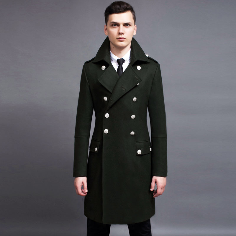 Spring New Arrival Fashion Mens Double Breasted Long Wool Blend Coats Male Military Long Jackets Outwears Parkas Army