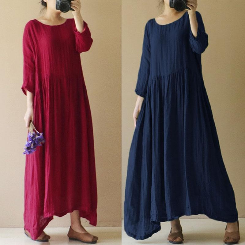 Celmia Oversized Women Retro Linen Dress 2018 Summer Casual Loose O Neck Long Sleeve Solid Vintage Maxi Long Dress Vestidos