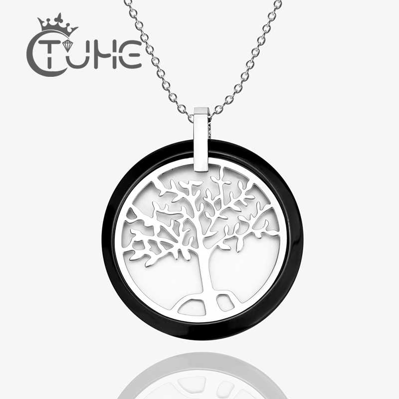 New Black White Ceramic Round Pendant Necklace Tree Of Life For Women With 40cm Silver Chain Stainless Steel Ceramic Jewelry