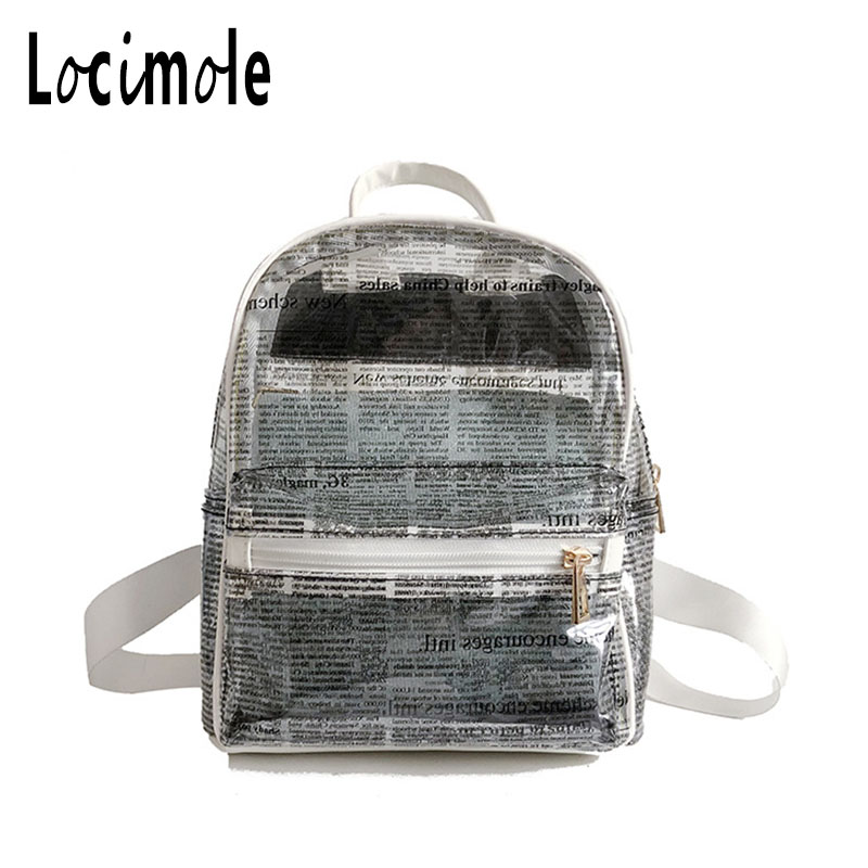 Locimole Transparent Women Backpack PVC Clear School Bag Female Large Bagpack for Teenage Travel mochila feminina BIW229 PM49 ...