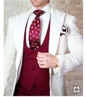 New Design 2018 Elegant Brand Slim Fit Smoking Suit Men Costume 3 Pieces Homme White Prom Tuxedo Groom Suits For Men Wedding