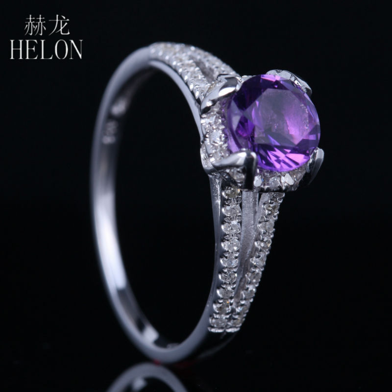 HELON Solid 14k White Gold 6mm Round 100% Genuine Amethyst Ring Pave Natural Diamonds Fine Ring Wedding Women Gemstone Jewelry