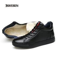 Dekesen New 2016 High Top Men Shoes Winter Genuine Leather Fur Casual shoes men Fashion Zapatos Hombre Warm Lace up Black Mens