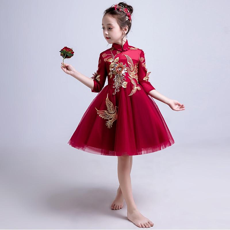Style chinois robe de princesse Appliques robes de demoiselle d'honneur pour mariage col montant broderie pailletée enfants robes de soirée B330