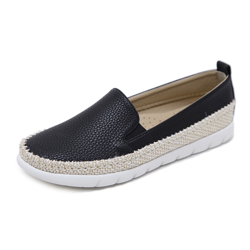 Slip forme Plate Xwd7083 On 35 Plus Mocassins Armure Grand Paille Creepers apricot Black La Chaussures Taille 42 Appartements Hee Femmes Femme Casual Confort wqI8XR