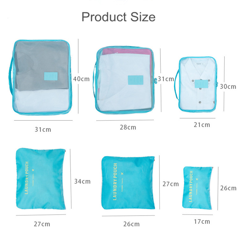 6pcs set Travel Storage Bag Portable Luggage Organizer Clothes Tidy Pouch Suitcase Packing Laundry Bags Home Closet Storage Case in Storage Bags from Home Garden
