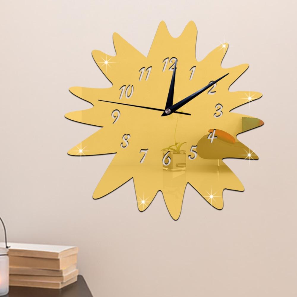 Creative Windwill 3D Mirror Surface Sticker DIY Wall Clock Home Decor Wall Clock Bedroom Living/Meeting/Study Room Decoration -in Wall Clocks from ...