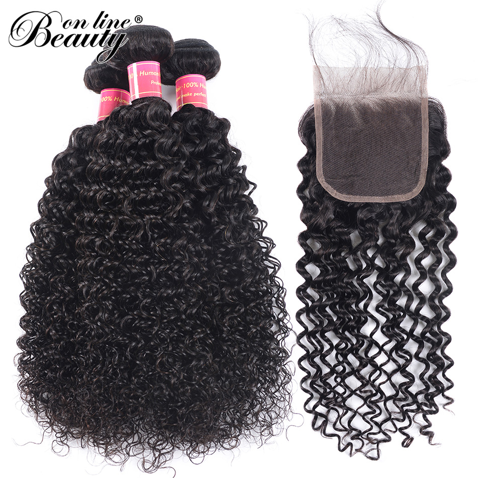 Beauty On Line Afro Kinky Curly Lace Closure 4*4 With 3 Bundles Brazilian Remy Hair Weave 8-28 Inch Free shipping